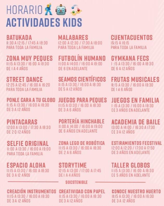 feCStival KIDS 2019 horarios